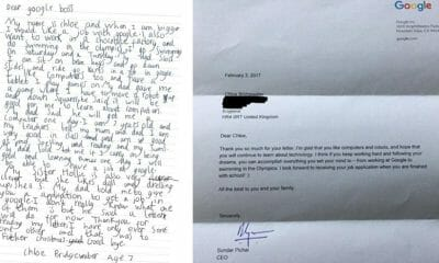 7 year old girl Chloe Bridgewater job application to Google boss gets response