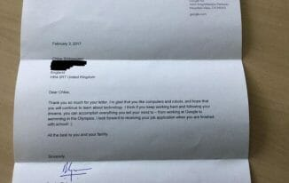 google response to 7 year old girl job application
